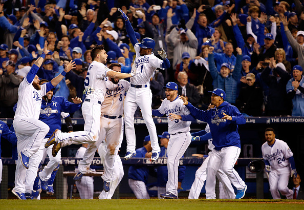 during Game One of the 2015 World Series at Kauffman Stadium on October 27, 2015 in Kansas City, Missouri.